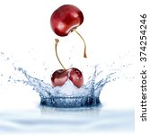 fresh cherry fruit with water... | Shutterstock . vector #374254246