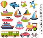 transport icons set | Shutterstock .eps vector #374255272