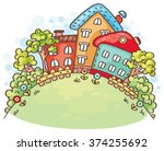 cartoon houses and trees on a... | Shutterstock .eps vector #374255692
