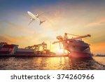 container cargo freight ship... | Shutterstock . vector #374260966