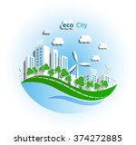 green eco city with private... | Shutterstock .eps vector #374272885