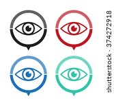 eye   vector icon  map pointer  ...