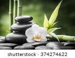 zen basalt stones  orchid and... | Shutterstock . vector #374274622