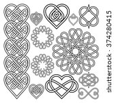 set hearts intertwined in... | Shutterstock .eps vector #374280415