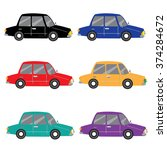 set of six classic car... | Shutterstock .eps vector #374284672