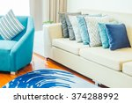 beautiful luxury pillow on sofa ... | Shutterstock . vector #374288992