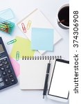 opened notebook with blank... | Shutterstock . vector #374306908