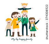 my big happy family   a large... | Shutterstock .eps vector #374308522