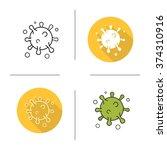 virus flat design  linear and...   Shutterstock .eps vector #374310916