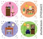 four interiors of living room.... | Shutterstock .eps vector #374316622