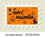 happy halloween stamp | Shutterstock .eps vector #37431946