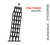 leaning tower of pisa  italy.... | Shutterstock .eps vector #374320948