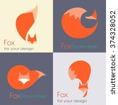 set fox sign  illustration and... | Shutterstock .eps vector #374328052