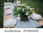 wedding. flower arrangement of... | Shutterstock . vector #374334442
