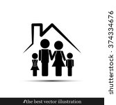 family and house icon | Shutterstock .eps vector #374334676