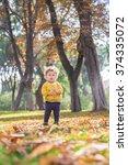 colorful autumn scene. hug of... | Shutterstock . vector #374335072