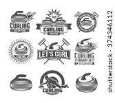 curling game vintage badges set.... | Shutterstock .eps vector #374346112
