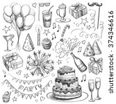 party  a set of hand drawings | Shutterstock .eps vector #374346616