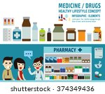 drugs icons  pills capsules and ... | Shutterstock .eps vector #374349436