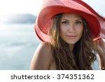 beautiful girl  business woman  ... | Shutterstock . vector #374351362