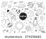 cosmic objects set. hand drawn... | Shutterstock .eps vector #374358682