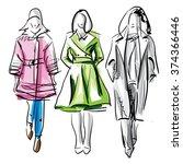 Colorful Fashion Models Sketch...