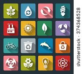 set of vector eco icons in flat ... | Shutterstock .eps vector #374368528