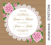 wedding card with roses and... | Shutterstock .eps vector #374371246
