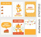 set of six birthday cards ... | Shutterstock .eps vector #374372512