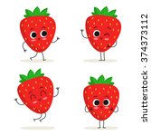 strawberry. cute fruit vector...