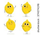 lemon. cute fruit vector... | Shutterstock .eps vector #374374198