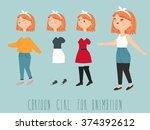 hipster girl. character... | Shutterstock .eps vector #374392612