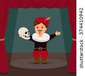 actor on scene of the theater ... | Shutterstock .eps vector #374410942