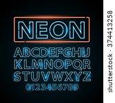 vector blue neon lamp letters... | Shutterstock .eps vector #374413258