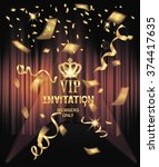vip invitation card with gold... | Shutterstock .eps vector #374417635