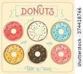 colorful vector donuts | Shutterstock .eps vector #374418766