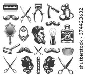 barber shop vector silhouettes... | Shutterstock .eps vector #374423632