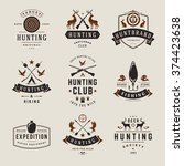 set of hunting and fishing... | Shutterstock .eps vector #374423638