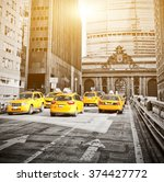 Yellow Cabs On Park Avenue In...