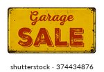 vintage rusty metal sign on a... | Shutterstock . vector #374434876