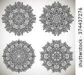 set of mandalas coloring... | Shutterstock .eps vector #374437276