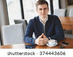 man  coffee  smile. man in cafe ...   Shutterstock . vector #374443606