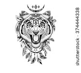 detailed tiger in aztec style.... | Shutterstock . vector #374444338