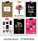 Stock vector valentines day gift cards calligraphy and hand drawn design elements handwritten modern lettering 374444968
