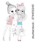 friendly girl | Shutterstock .eps vector #374453245