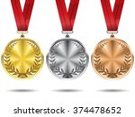 set of gold  silver and bronze... | Shutterstock .eps vector #374478652
