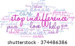 stop indifference word cloud on ... | Shutterstock .eps vector #374486386