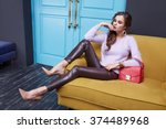 beautiful sexy brunette woman... | Shutterstock . vector #374489968