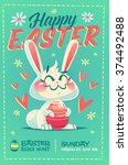 happy easter greeting card.... | Shutterstock .eps vector #374492488