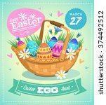 happy easter greeting card.... | Shutterstock .eps vector #374492512